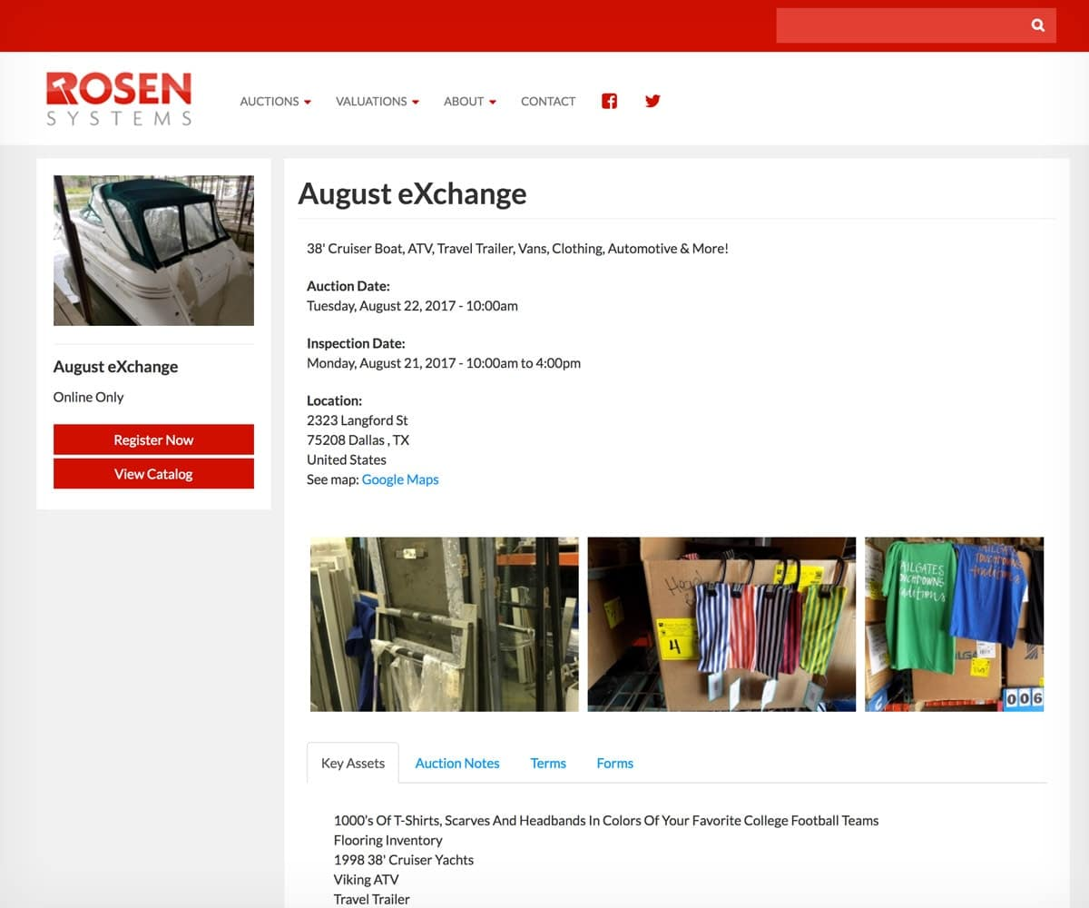 Rosen Systems auction page