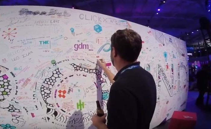Graffiti board at trade show