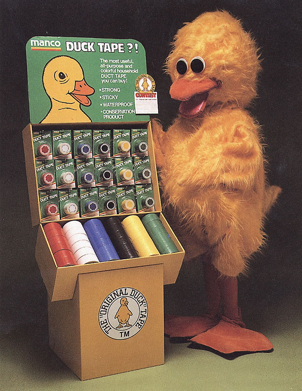 Duck Tape display and duck mascot