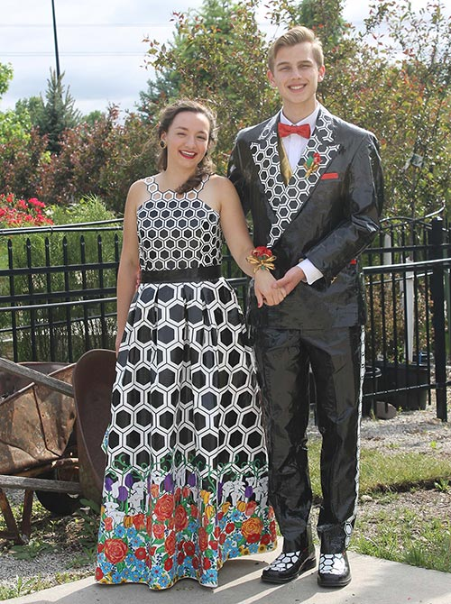 students wearing Duck Tape prom outfits