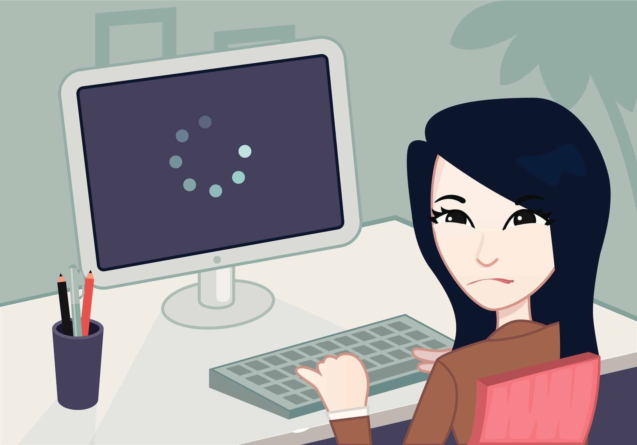 illustration of frustrated woman at computer
